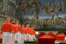 Cardinals enter the Sistine Chapel to begin the conclave in order to elect a successor to Pope Benedict March 12, 2013. REUTERS/Osservatore Romano